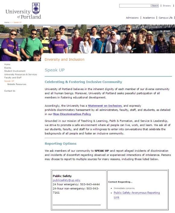 UniversityPortlandSpeakUp